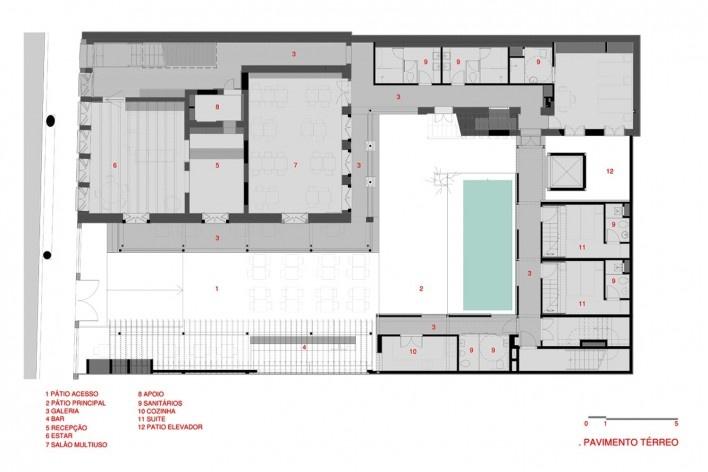 Hostel Villa 25, pavimento térreo, Rio de Janeiro RJ Brasil, 2016. Arquitetos Rodrigo Calvino e Diego Portas / C+P Arquitetura<br />Imagem divulgação