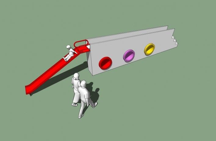 Modelo 3D - Muro-Ponte<br />Imagem dos autores do projeto