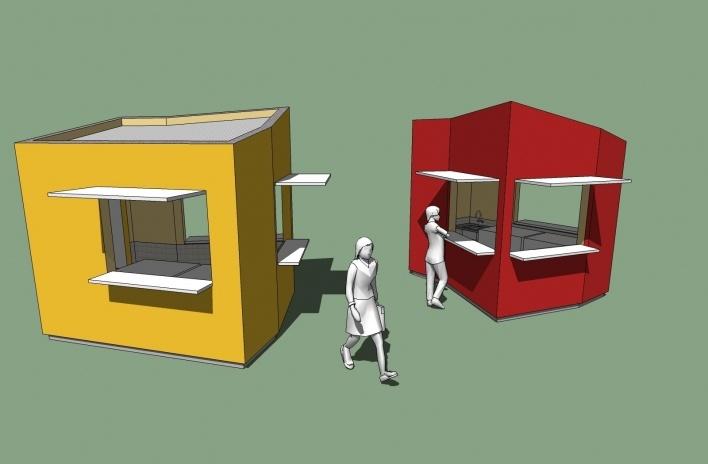 Modelo 3D - Quiosque<br />Imagem dos autores do projeto