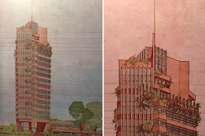 "Price Tower, edifício e detelhe, 1952, Frank Lloyd Wright, mostra ""The Human Insect: Antenna Architectures 1887-2017""<br />Foto Ana Tagliari / Wilson Florio, 2018"