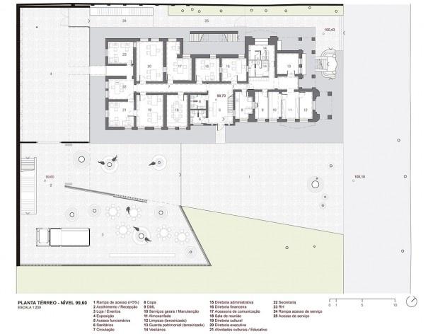 Museu da Diversidade Sexual, planta térreo, nível 99,60. Hereñú + Ferroni Arquitetos, 2014<br />Imagem divulgação