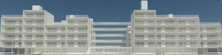 Perspectiva geral. Concurso Habitação para Todos. CDHU. Edifícios de 6/7 pavimentos - 2º Lugar.<br />Autores do projeto  [equipe premiada]