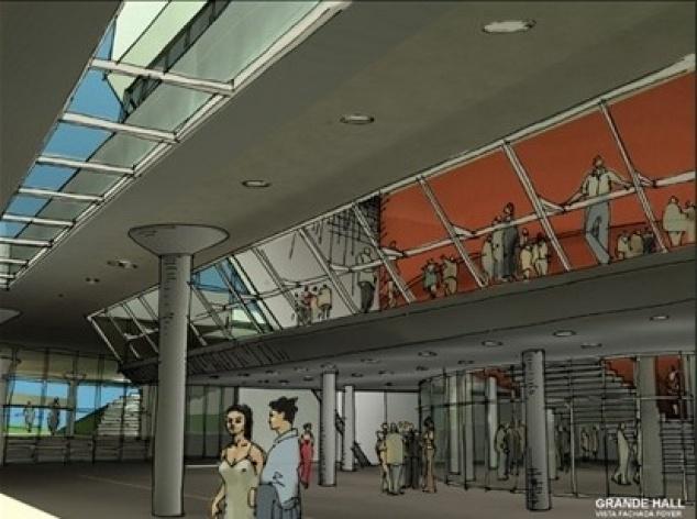 Croqui perspectiva grande hall<br />Imagem do autor do projeto