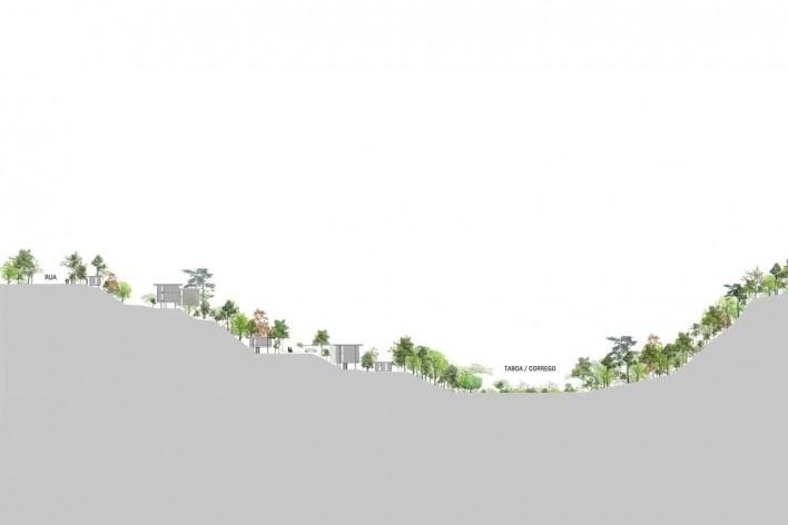 Vila Taguaí, corte geral da implantação, Carapicuiba SP, 2007-2010. Arquitetos Cristina Xavier (autora), Henrique Fina, Lucia Hashizume e João Xavier (colaboradores)