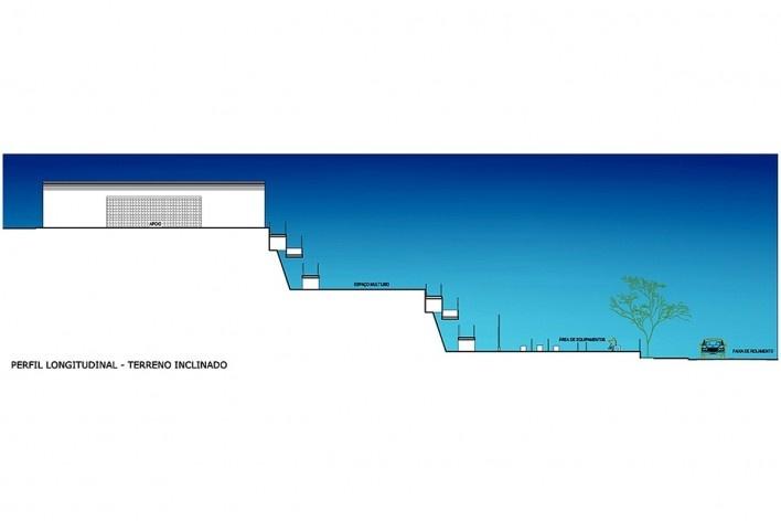 Perfil longitudinal, terreno inclinado. Academia da Saúde. Recife, 2011<br />divulgação