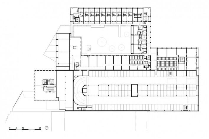 Bottière Chénaie, first floor plan, Nantes, France, 2019. Architects Kees Kaan, Vincent Panhuysen, Dikkie Scipio (authors) / Kaan Architecten<br />Imagem divulgação/ disclosure image/ divulgation  [Kaan Architecten]