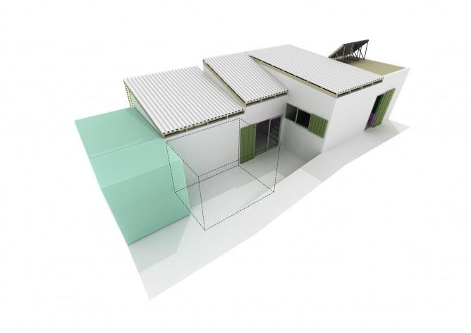 Casa tipo A. Concurso Habitação para Todos. CDHU. Casas escalonadas - 2º Lugar.<br />Autores do projeto  [equipe premiada]