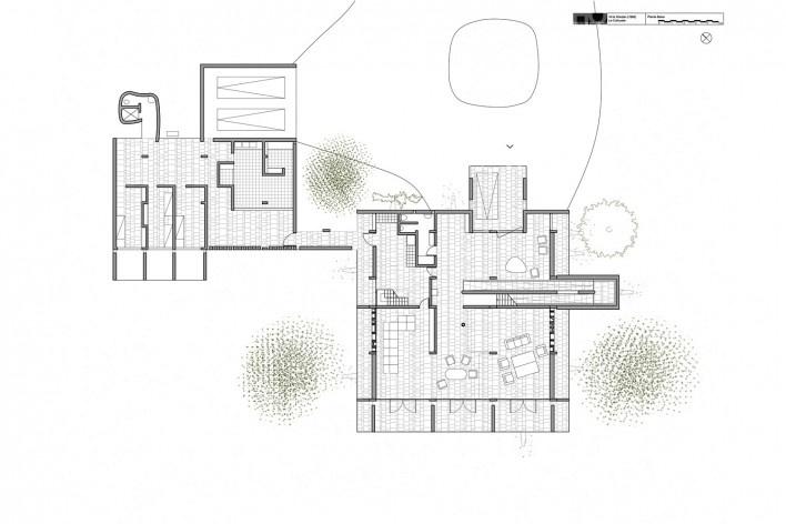 Casa Shodhan, planta pavimento térreo, Ahmedabad, Gujarat, Índia, 1951-56. Arquiteto Le Corbusier<br />Reprodução/reproducción  [website historiaenobres.net]
