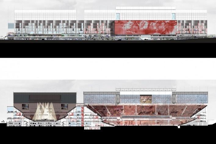 Complexo Esportivo e Cultural Clube Atlético Paranaense, elevação e corte do complexo, Curitiba. Arquiteto Carlos Arcos<br />Imagem divulgação