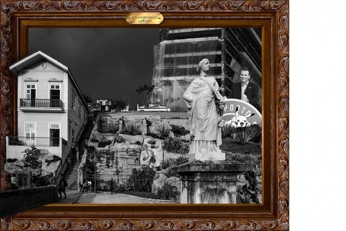 Pôster para a intervenção Circuito Futurístico e Especulativo do Desrespeito da Herança Africana, do Esquecimento Urbano e do Apodrecimento da Sociedade, autoria de Pedro Victor Brandão e Laura Burocco<br />Foto divulgação