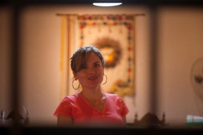 """""""Selfie"""" de funcionária da Secretaria Municipal de Cultura instalada no Museu do Divino<br />Foto Fabio Lima"""