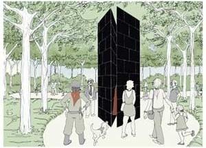 Monumento aos Lanceiros Negros em Porto Alegre - perspectiva<br />Imagem dos autores do projeto