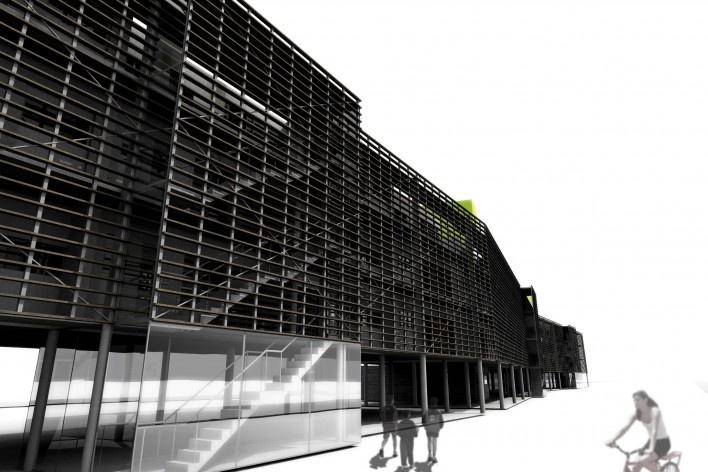 Perspectiva – vista frontal (acesso). Concurso Habitação para Todos.CDHU. Edifícios de 4 pavimentos- 2º lugar.<br />Autores do projeto  [equipe premiada]