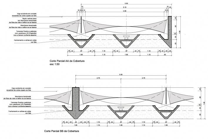 Proposta para Sobre-Cobertura do Edifício Vilanova Artigas, sede da FAU-USP, cortes parciais da cobertura AA e BB. Arquiteto Pedro Paulo de Melo Saraiva, 2009<br />Imagem escritório