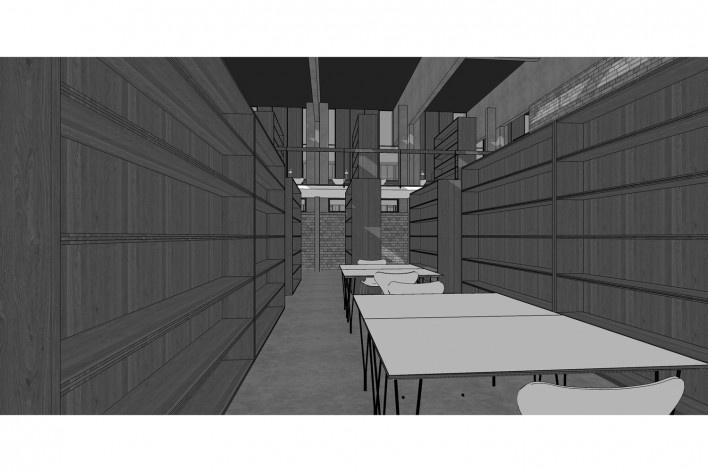 Saint Catherine's College, vista interior da biblioteca, Oxford, Inglaterra, 1959-1964, arquiteto Arne Jacobsen<br />Modelo tridimensional de Edson Mahfuz e Ana Karina Christ