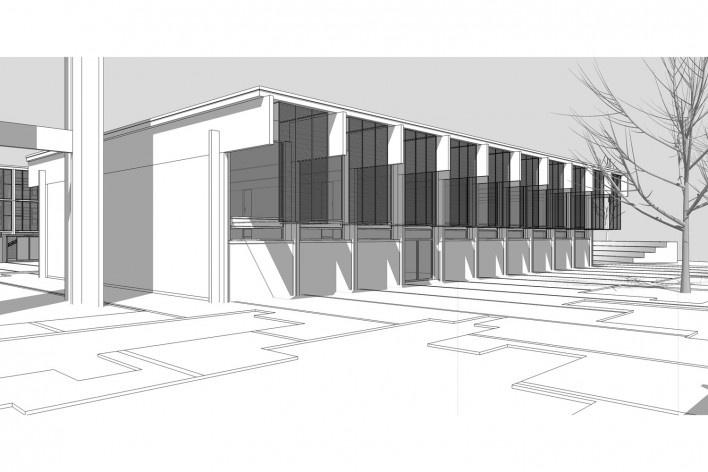 Saint Catherine's College, vista exterior do auditório, Oxford, Inglaterra, 1959-1964, arquiteto Arne Jacobsen<br />Modelo tridimensional de Edson Mahfuz e Ana Karina Christ