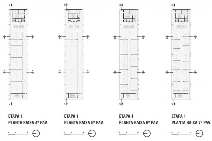 Campus Igara UFCSPA, plantas baixas 4º, 5º, 6º e 7º pavimentos da etapa 1. OSPA Arquitetura e Urbanismo<br />Imagem divulgação