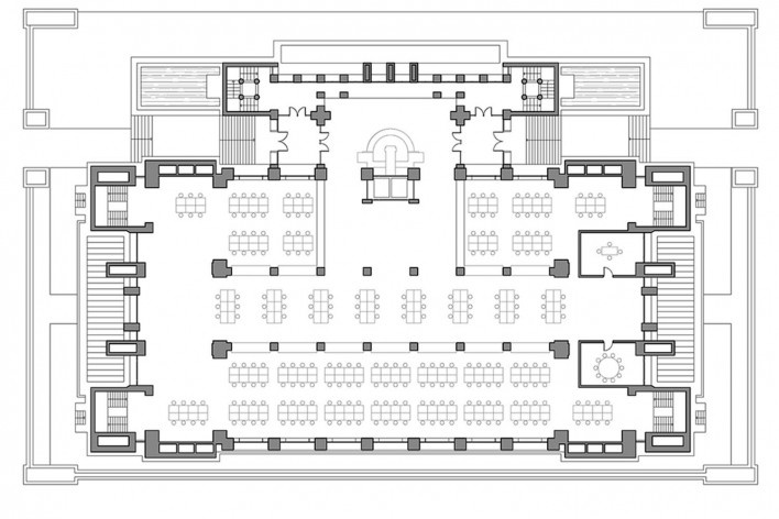 Edifício Larkin, planta térreo, Buffalo, Nova York, EUA, 1905. Arquiteto Frank Lloyd Wright<br />Imagem reprodução / imagen reproducción  [Website Història en Obres]