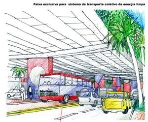 Faixa exclusiva para sistema de transporte coletivo de energia limpa<br />Imagem do autor do projeto