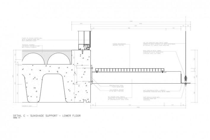 Centro Paula Souza, São Paulo, suporte do brise do piso inferior (detalhe C), arquitetos Francisco Spadoni e Pedro Taddei<br />Imagem divulgação