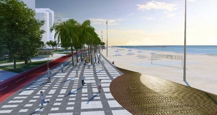 A proposta de calçadão e ciclovia juntos a faixa de praia valorizam a contemplação e o uso do mar