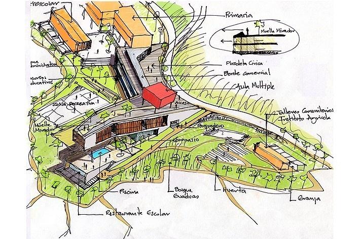 Idea inicial. Colegio Santo Domingo Savio. Medellín, Colombia. 2008<br />Obranegra arquitectos
