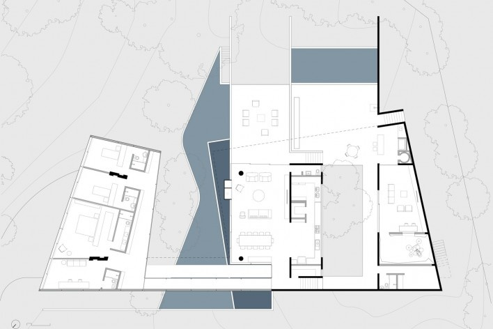Casa em Cotia, UNA Arquitetos, 2016, pavimento superior<br />UNA Arquitetos