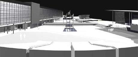 Vista da Praça Cívica<br />Imagem dos autores do projeto