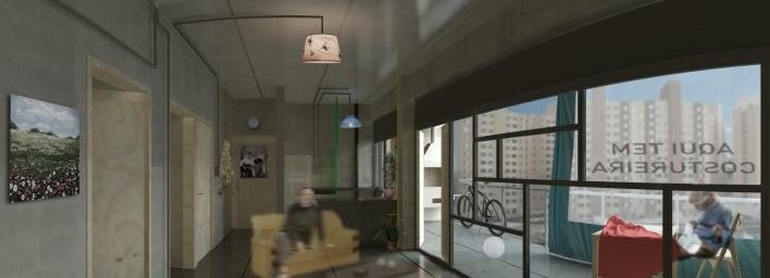Perspectiva interna. Concurso Habitação para Todos. CDHU. Edifícios de 6/7 pavimentos - 2º Lugar. <br />Autores do projeto  [equipe premiada]