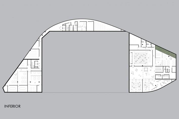 Concurso Anexo da Biblioteca Nacional, planta subsolo, Rio de Janeiro, 3º lugar, arquiteto Renato Dal Pian<br />Imagem divulgação