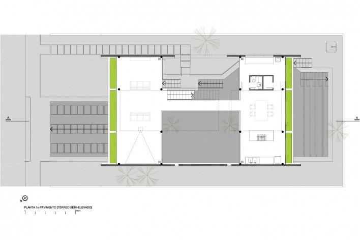 Residência KS, planta 1° pavimento, Natal RN, 2016. Arquitetos Alexandre Brasil, Paula Zasnicoff e Raquel Araújo<br />Imagem divulgação