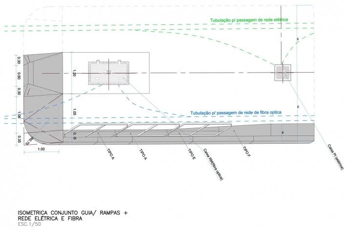 Ciclovia Paulista/ Isométrica de travessia. Projeto previa uso de pré‐moldados em concreto.<br />Studio GGA