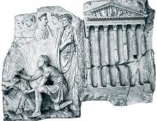 Fragmento de relevo proveniente de Ara pietatis Augustæ, representando um sacrifício diante do templo octástilo de Marte Ultor. No frontão figuram Marte (ao centro) ladeado por Venus (à esquerda) e Fortuna (à direita), 22 c. Mármore, templo com 144 ×98 cmImagem divulgação