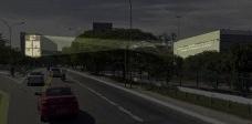 """intervenção urbana temporária """"Inflexão: resistência e censura"""", Pavilhão da Bienal e MAC USP, simulação, São Paulo SP Brasil, 2018Imagem Carvalho Terra Arquitetos"""