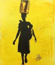"""Paulo Chavonga, """"Mãe preta"""", acrílico sobre tela, 25X30cm, exposto no saguão da Galeria OlidoFoto Abilio Guerra"""