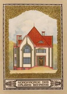 Casa propia, alzado norte, Darmstadt, Alemania, 1900. Peter BehrensDivulgación  [Arquitectura. Ritos y ritmos, Joaquín Arnau Amo]