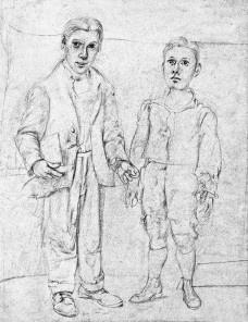 Wilem de Kooning, Autorretrato com irmão imaginário, c.1938, lápis sobre papel, 33,3X26cmImagem divulgação  [Ilustração do livro, p. 224]
