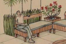 Detalhe do desenho conceitual do espaço mobiliadoDesenho de Áureo Freire Castelo Branco
