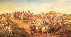 """Pedro Américo, """"Independência ou Morte"""". A pintura de 1888 retrata de forma idealizada a proclamação da independência por D. Pedro I em 7 de setembro de 1822Imagem divulgação  [Museu Paulista da USP]"""