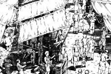 Espaço terciário em gravura de mercado público no Império Romano (detalhe) Imagem divulgação