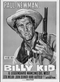 """Cartaz italiano do filme """"The Left Handed Gun"""" (1958), direção de Arthur Penn, com Paul Newman, Lita Milan, John Dehner e Hurd HatfieldImagem divulgação"""