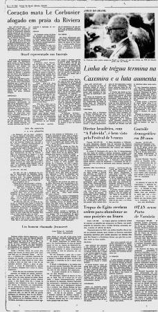 Jornal do Brasil, 28 de agosto de 1965, página 8, matérias sobre o falecimento do arquiteto Le CorbusierImagem divulgação