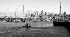 Auckland, marina de Westhaven, ao fundo o centro urbano e a Sky Tower, 2016Foto Lúcia Melchiorsa