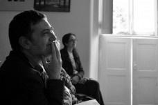 01. O Prof. Jorge Figueira, organizador do evento Digital DArq, e Gabriela Celani ao fundoFoto Isa Clara Neves
