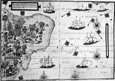 """""""Inventando o Outro: Terra Brasilis"""", de Pedro Reinel e Lopo Homem, publicado no Atlas Miller, de 1519Imagem divulgação  [Acervo Biblioteca Nacional de Paris]"""