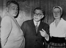 Jorge Amado, Jean-Paul Sartre e Simone de Beauvoir em Araraquara, 4 de novembro de 1960Foto divulgação  [ACI/Reitoria Unesp]
