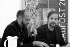 Oliver Tessmann e Tobias Walisser durante o Simpósio Bragfost, em CampinasOliver Tessmann and Tobias Walisser during the Bragfost Symposium, in CampinasFoto divulgação