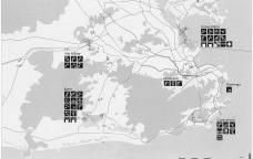Mapa geral das instalações olímpicas na candidatura Rio 2004Imagem divulgação  [Rio 2004, Rio de Janeiro candidate to host the XXVIII Olympic Games in 2004, v.2, 1996]