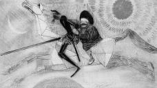 Dom Quixote, ilustração de Cândido Portinari em lápiz de corImagem divulgação