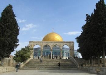 Três religiões monoteístas no Monte Moriah (Monte do Templo) de Jerusalém, Israel